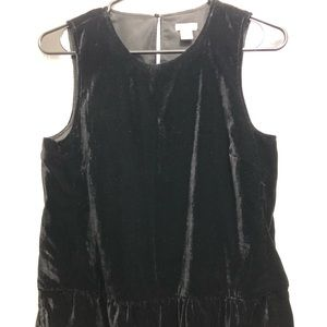 Jcrew Black peplum velvet sleeveless top size 2